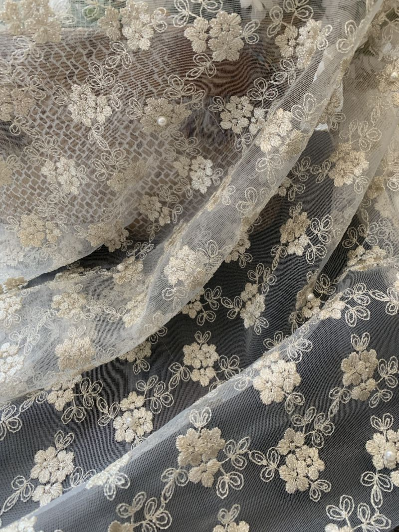 100% Polyester Mesh Embroidery